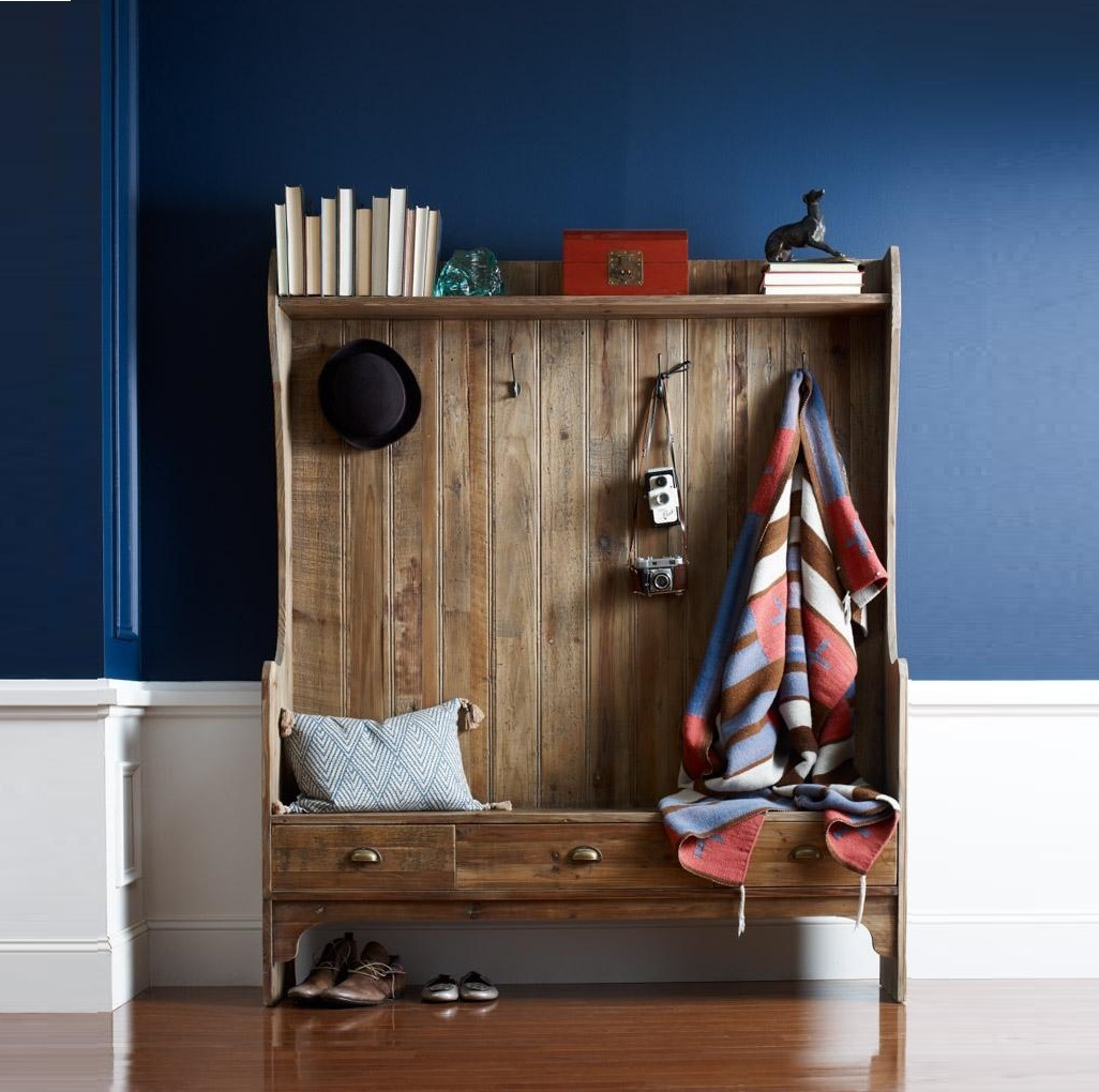 Entryway Storage Bench with Coat Rack | Coatrack Bench | Hall Tree Entry Bench Coat Rack