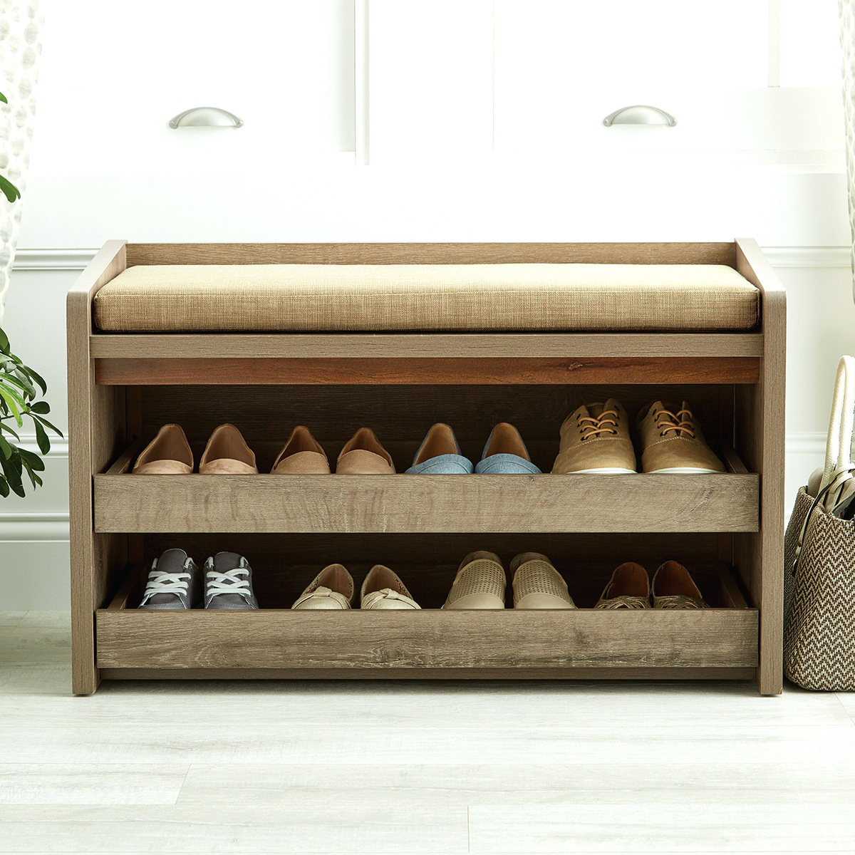 Entryway Storage Bench with Coat Rack | Entry Bench with Storage and Hooks | Entryway Coat Rack Bench