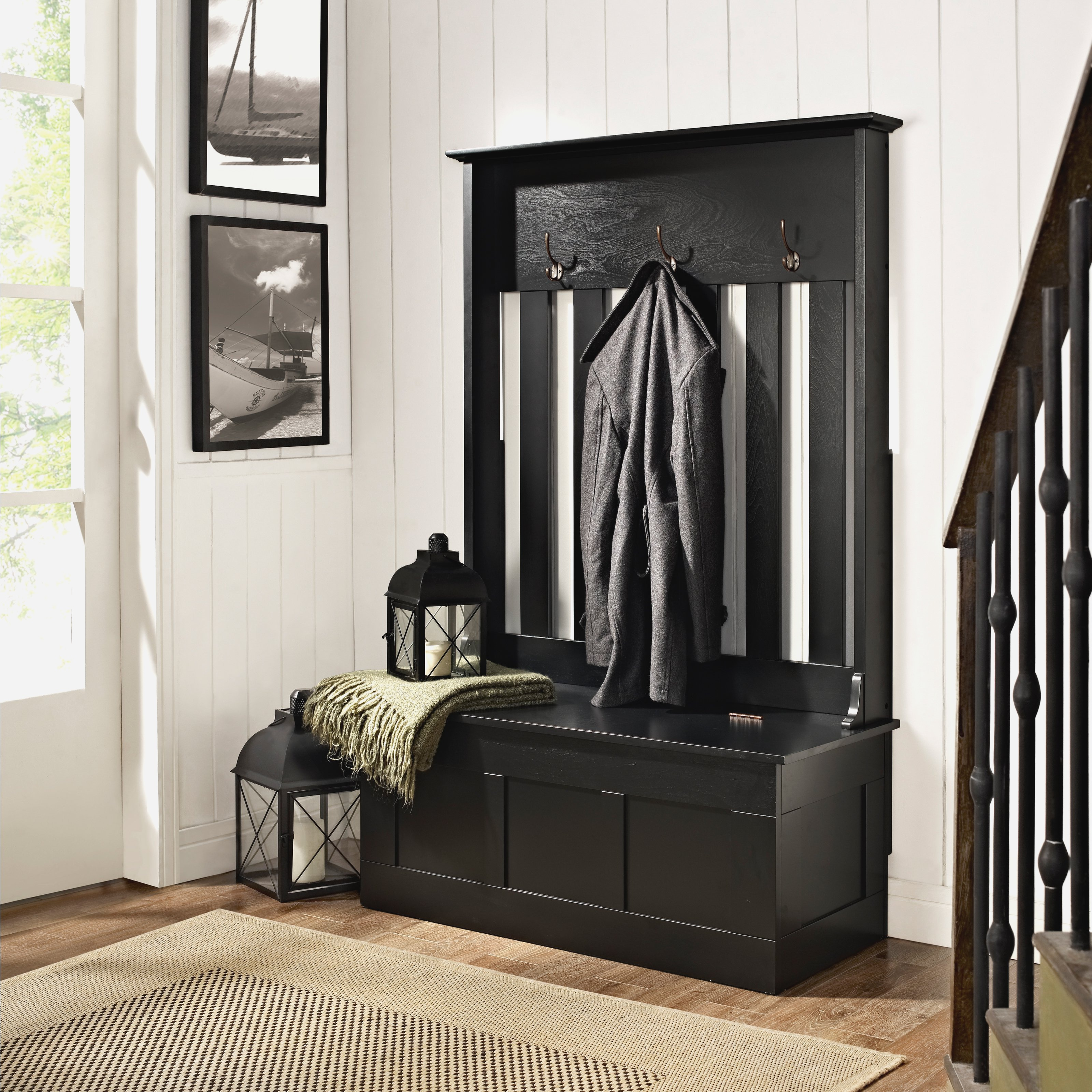 Entryway Storage Bench with Coat Rack | Entryway Storage Bench and Coat Rack | Coat Rack and Shoe Bench