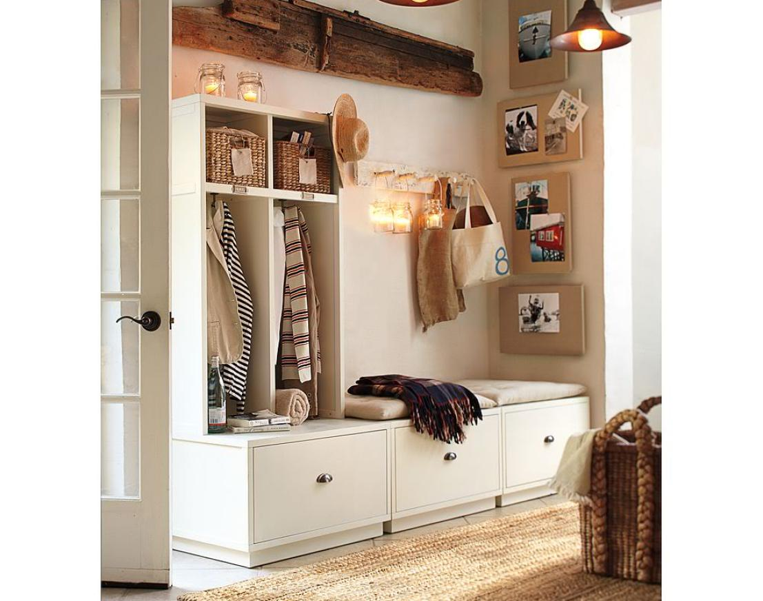 Entryway Storage Bench with Coat Rack | Hall Bench with Coat Rack | Coat Rack and Shoe Bench