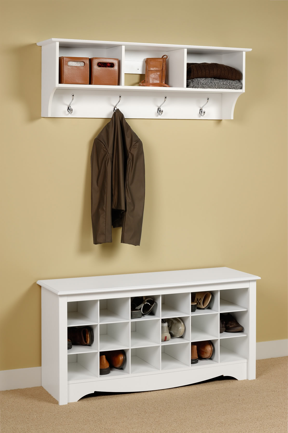 Entryway Storage Locker | Entryway Storage Bench with Coat Rack | Corner Entry Bench Coat Rack