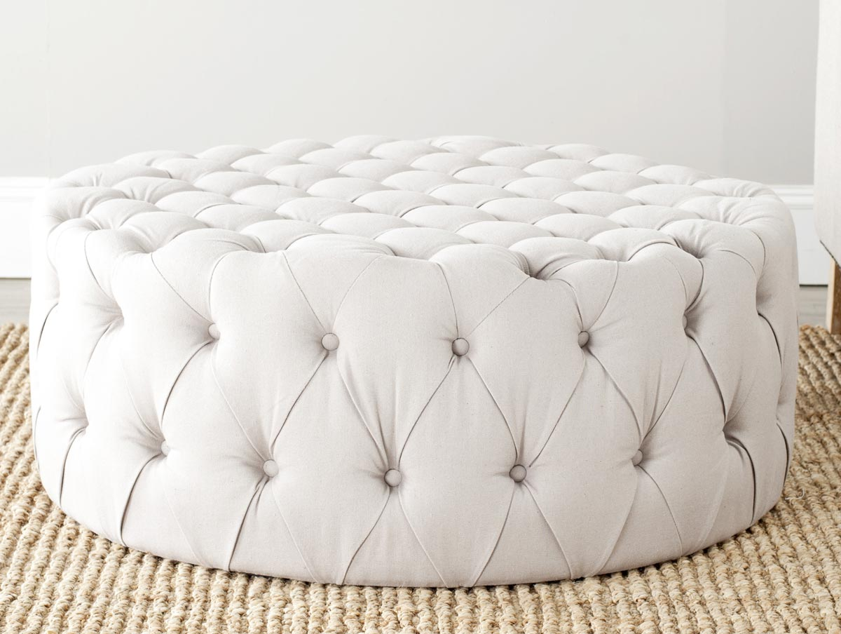 Extra Large Ottoman | Circle Ottoman with Storage | Extra Large Leather Ottoman