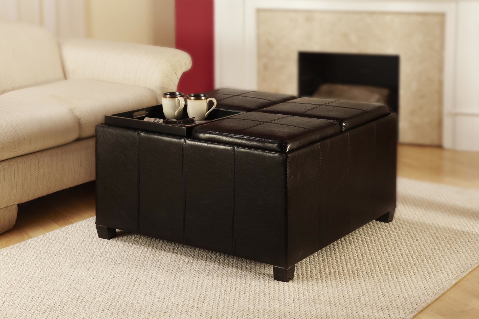 Extra Large Ottoman | Leather Ottoman Coffee Tables | Square Coffee Table With Ottomans