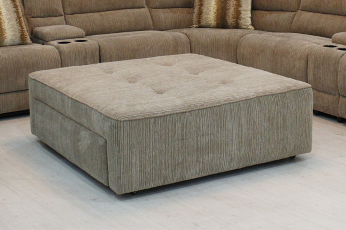 Extra Large Ottoman | Leather Ottoman With Wheels | Light Grey Ottoman