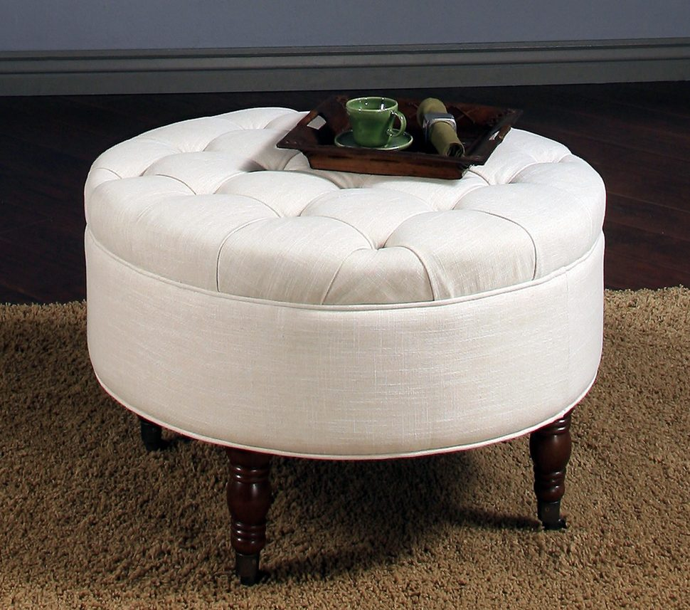 Extra Large Ottoman | Round Fabric Storage Ottoman | Cloth Ottoman Coffee Table