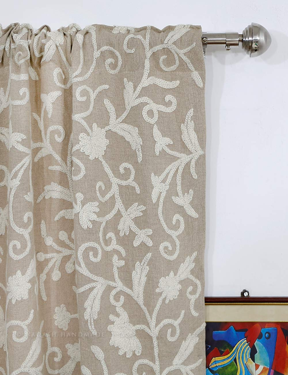 Flocked Curtains | Boho Curtain Panels | Embroidered Curtains