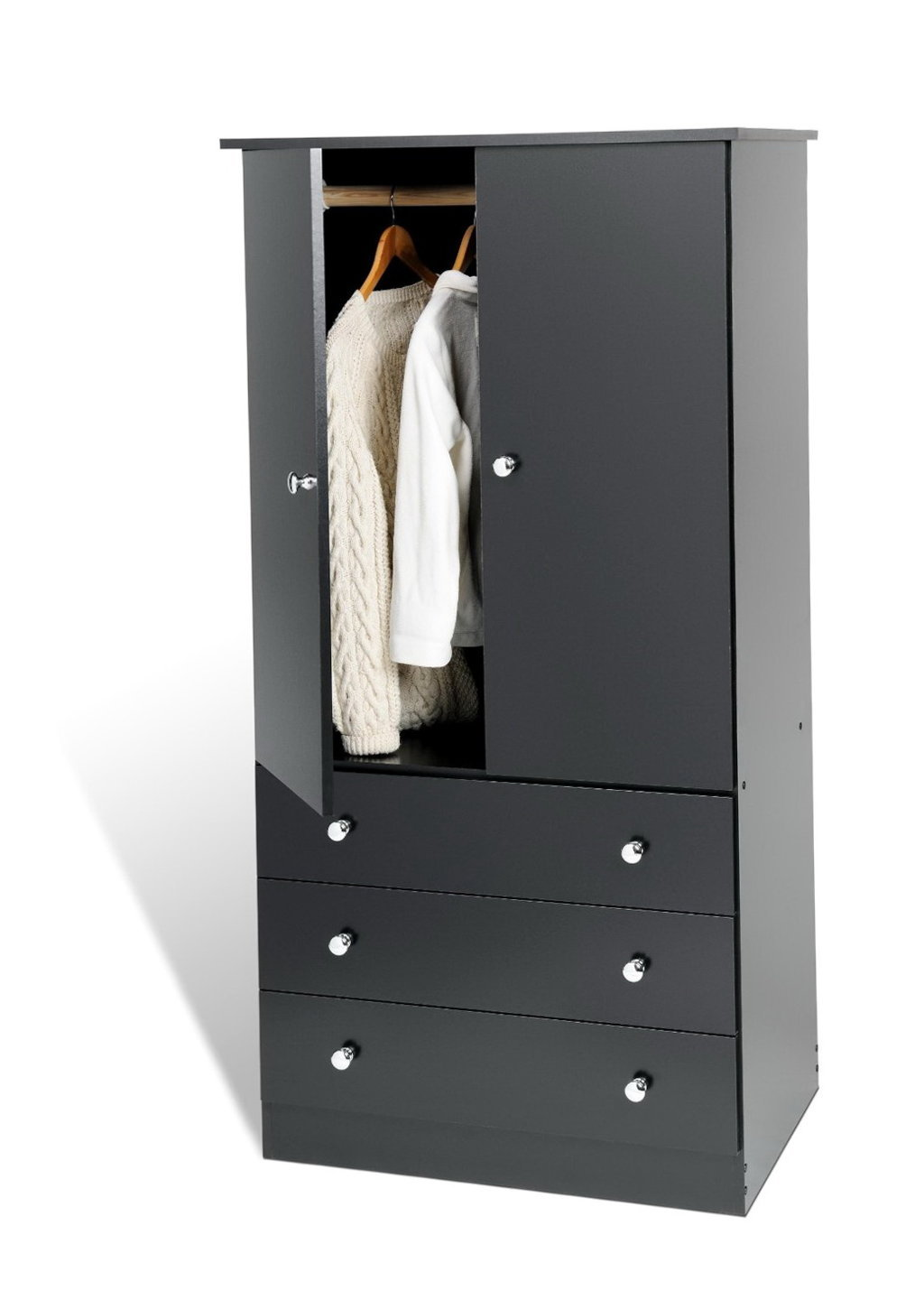 Free Standing Closet Wardrobe | Armoires with Mirrors | Coat Closet Armoire