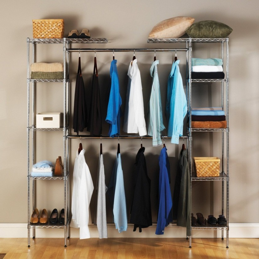 Free Standing Closet Wardrobe | Bedroom Furniture With Armoire | Clothes Armoire With Hanging Rod
