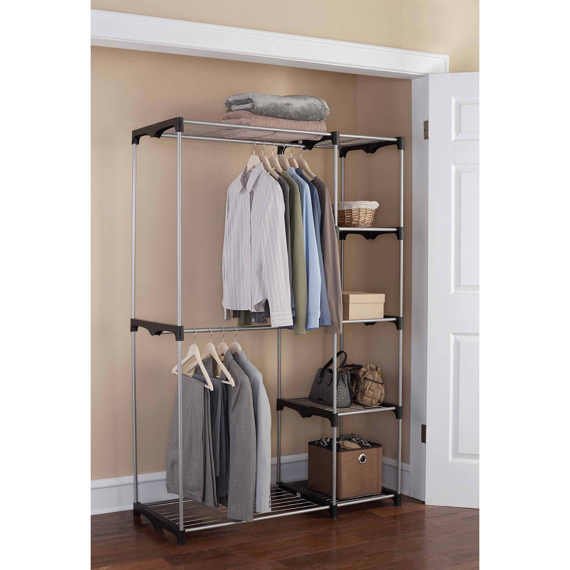 Free Standing Closet Wardrobe | Clothing Storage Armoire | Sliding Door Armoire