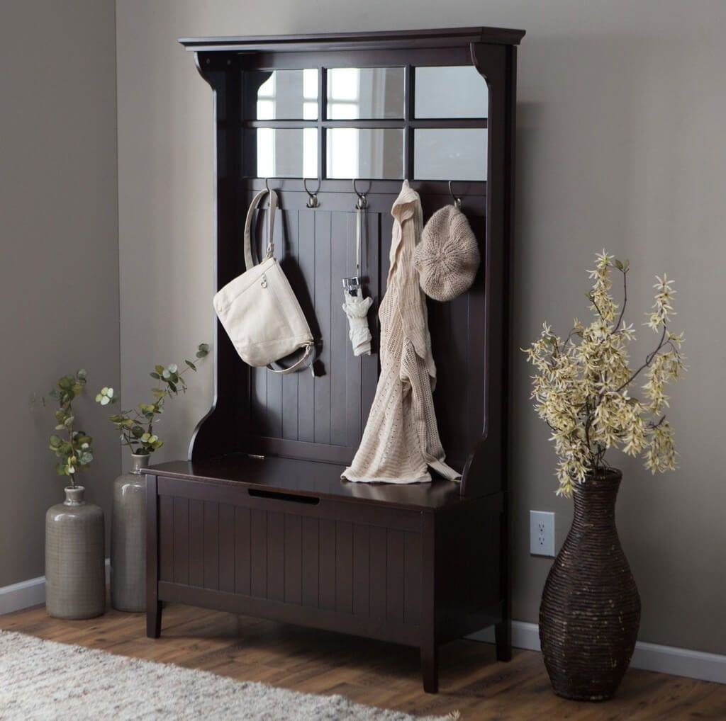 Hall Coat Rack Bench | Entryway Storage Bench with Coat Rack | Foyer Bench and Coat Rack