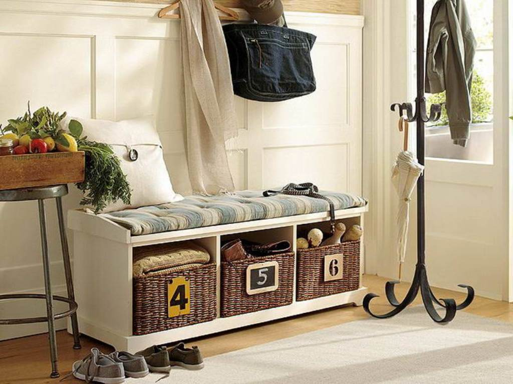 Hall Coat Rack with Storage | Bench and Coat Rack | Entryway Storage Bench with Coat Rack