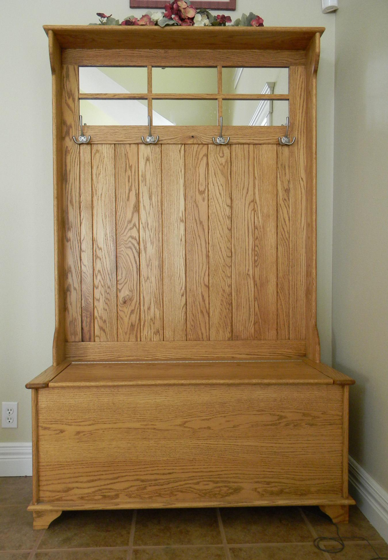 Hallway Bench Coat Rack | Foyer Coat Rack Bench | Entryway Storage Bench with Coat Rack