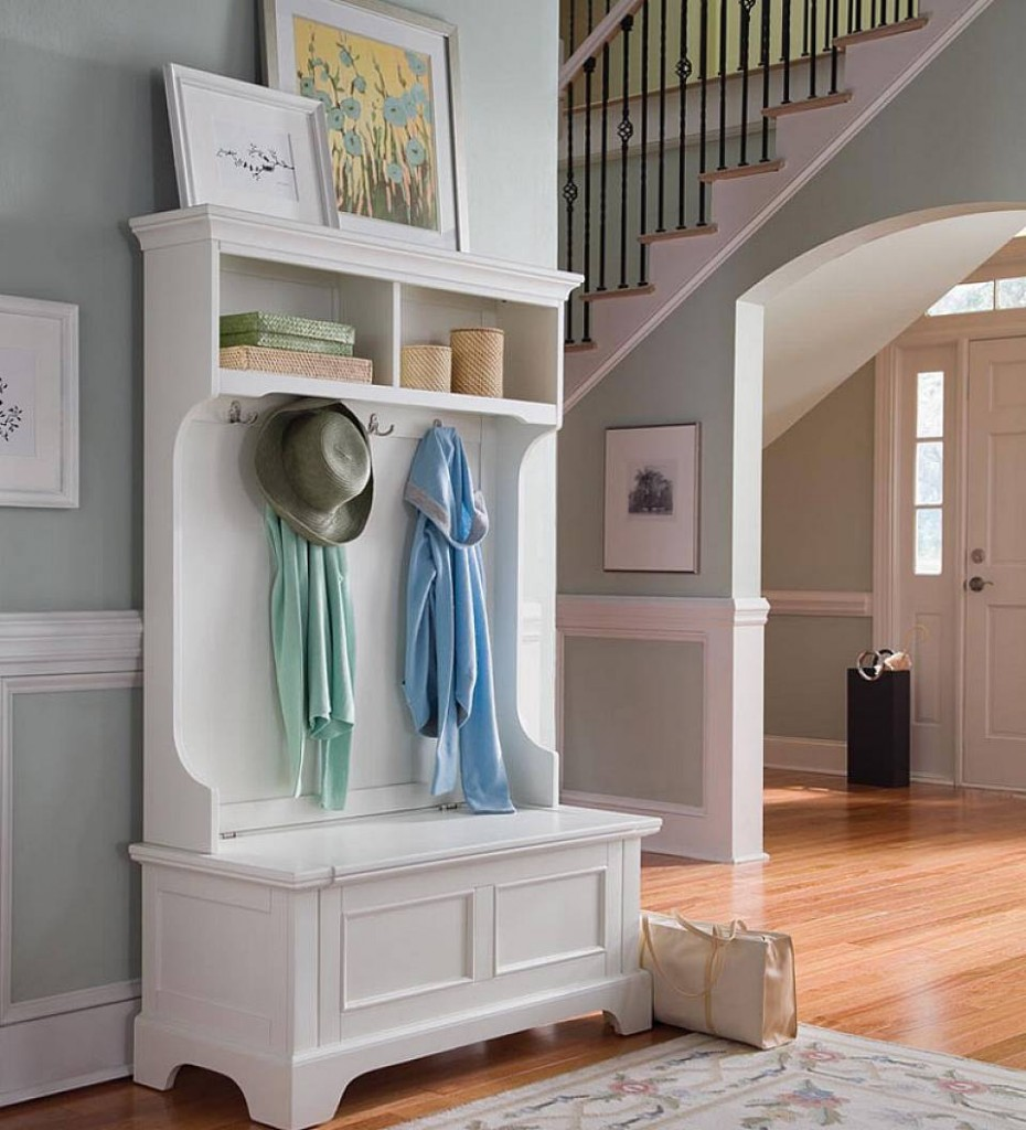Hallway Storage Bench with Coat Rack | Mudroom Bench and Coat Rack | Entryway Storage Bench with Coat Rack