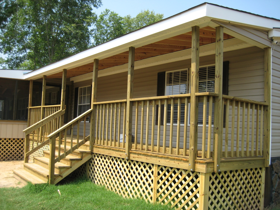 Ideas inspiring home design ideas with mobile home for Deck plans for mobile homes