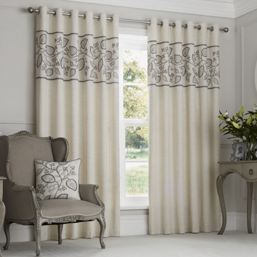 Ikat Navy Curtains | Embroidered Curtains | Embroidered Silk Curtains