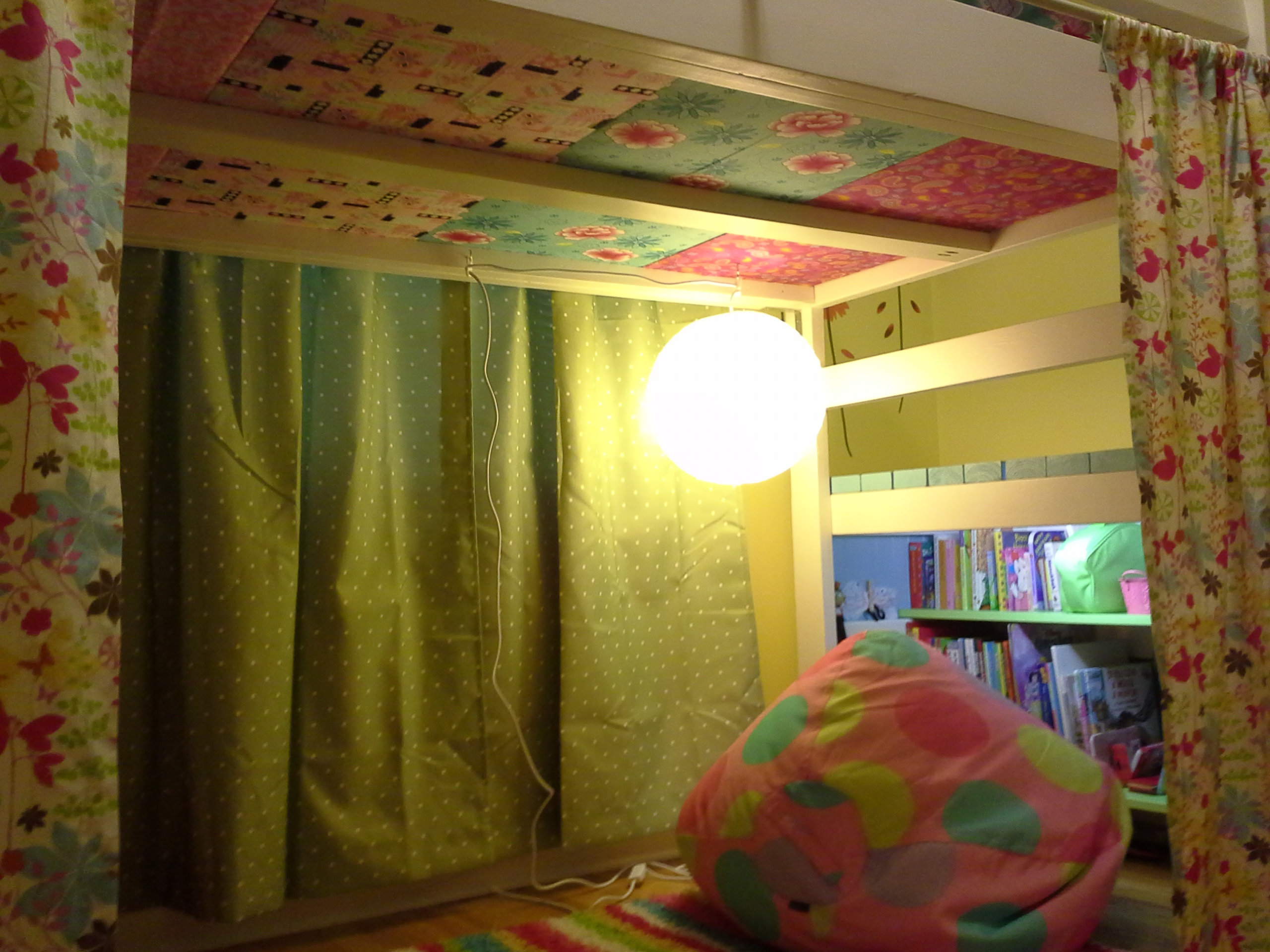Bed Divider Design Ideas with Bunk Bed Curtains: Junior Loft Bed Curtains | Bunk Bed With Fort | Bunk Bed Curtains