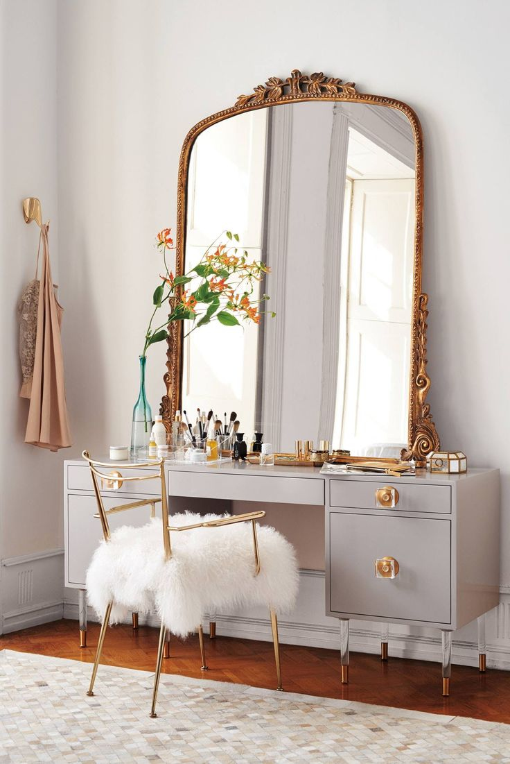 Lighted Mirror Vanity Set | Mirrored Vanity Set | Bedroom Vanity Sets with Lighted Mirror