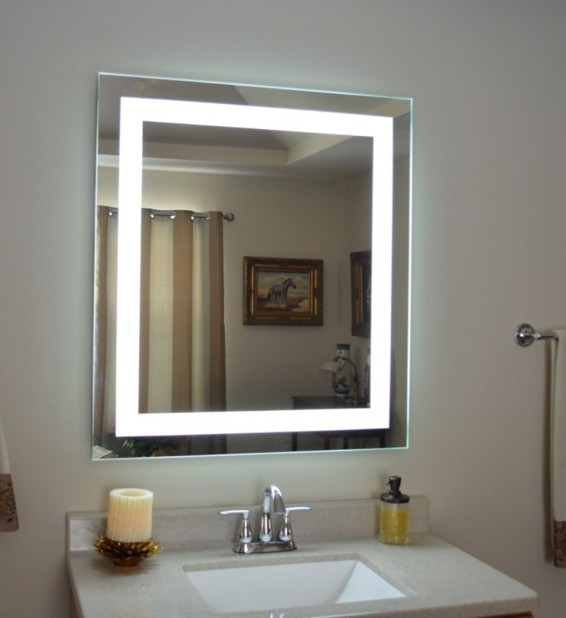 Lighted Vanity Mirror Wall Mount | Wall Mount Lighted Makeup Mirror | Lighted Wall Mirror