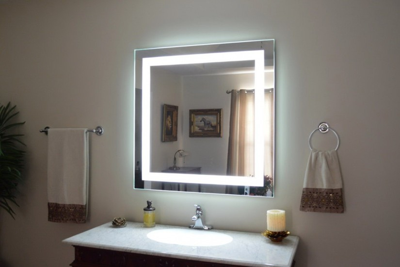 Lighted Wall Mount Magnifying Makeup Mirror | Bathroom Lighted Vanity Mirrors | Lighted Wall Mirror