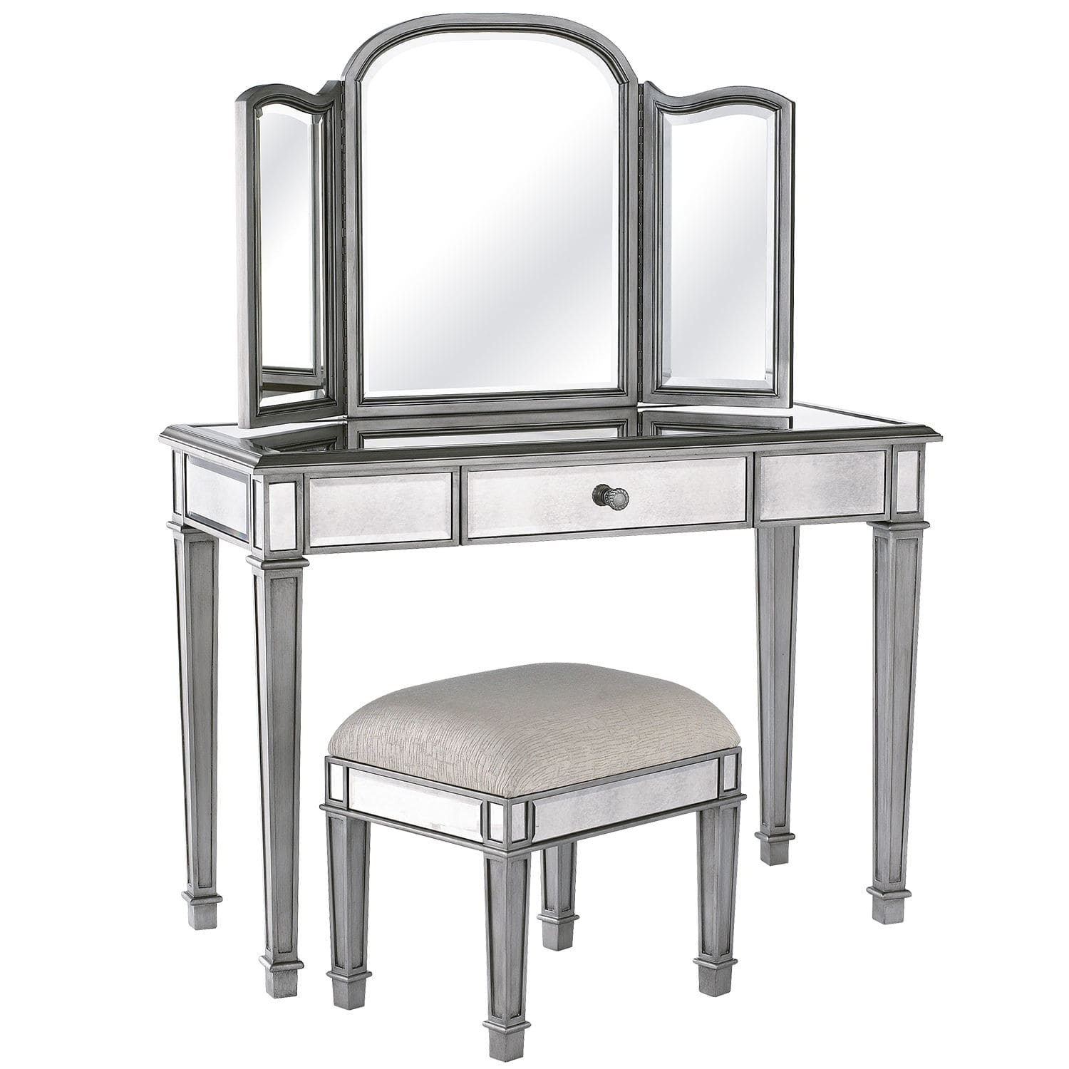 Mirrored Vanity Set for Elegant Bedroom Furniture Design: Makeup Vanity Sale | Vanity Set With Lights For Bedroom | Mirrored Vanity Set