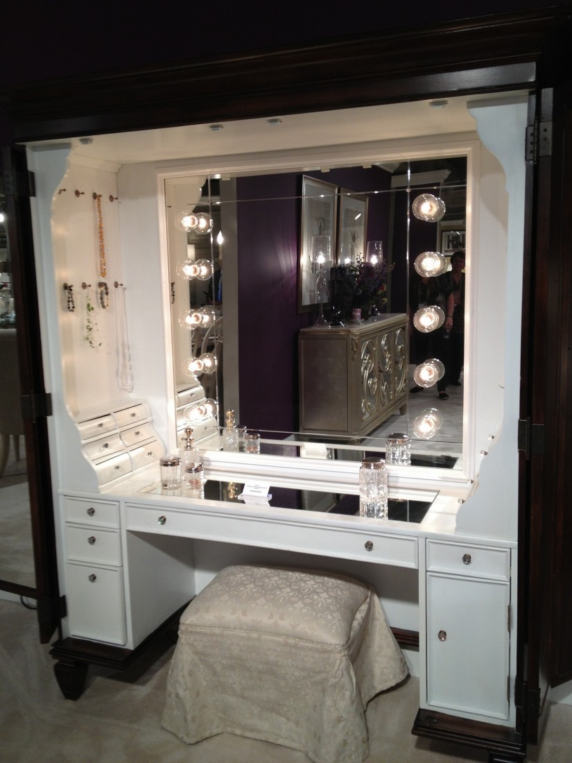 Makeup Vanity Set With Lighted Mirror | Mirrored Vanity Set | Vanity Brush And Mirror Set