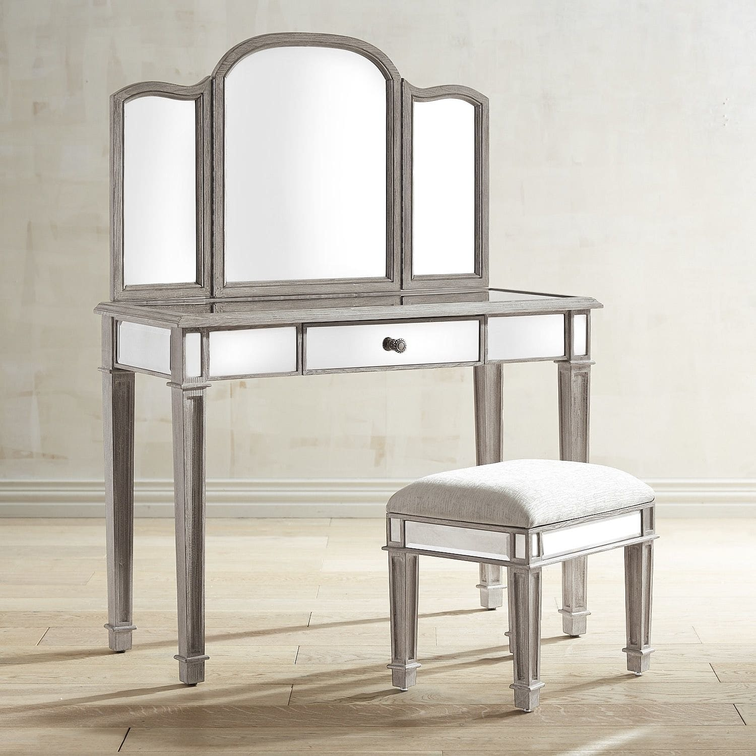 Makeup Vanity Table Set with Mirror | Bathroom Vanity Sets with Mirror | Mirrored Vanity Set