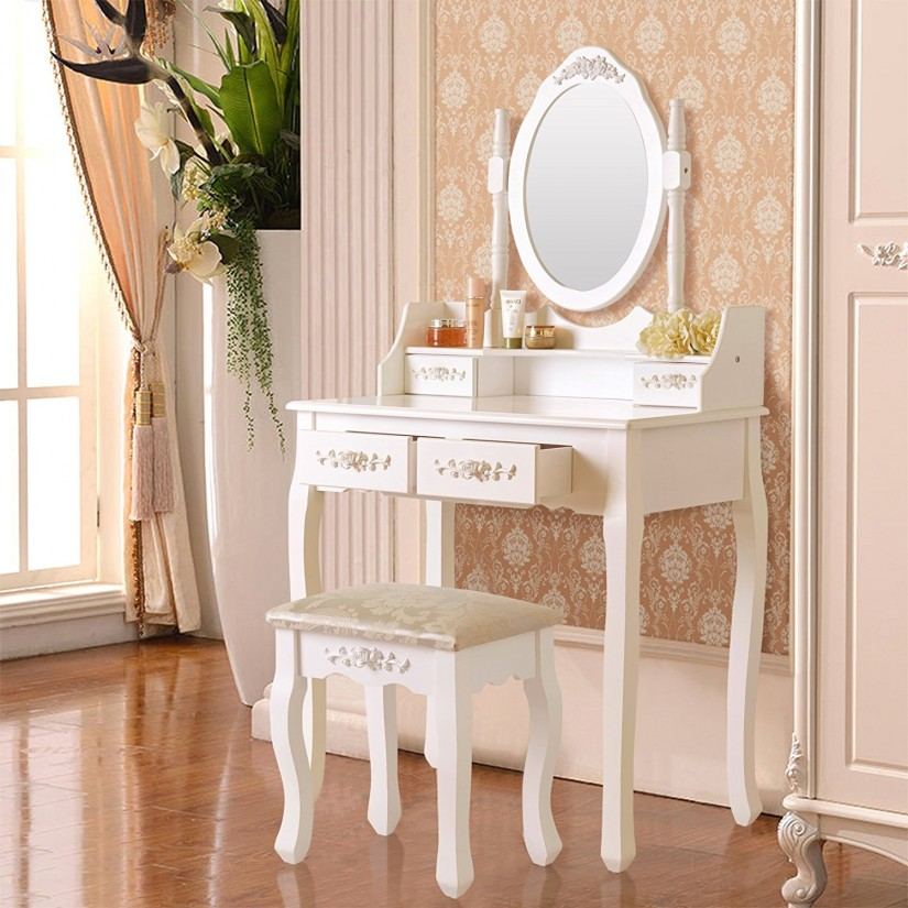 Mirror Makeup Vanity Table | Mirrored Vanity Set | Vanity With Mirror