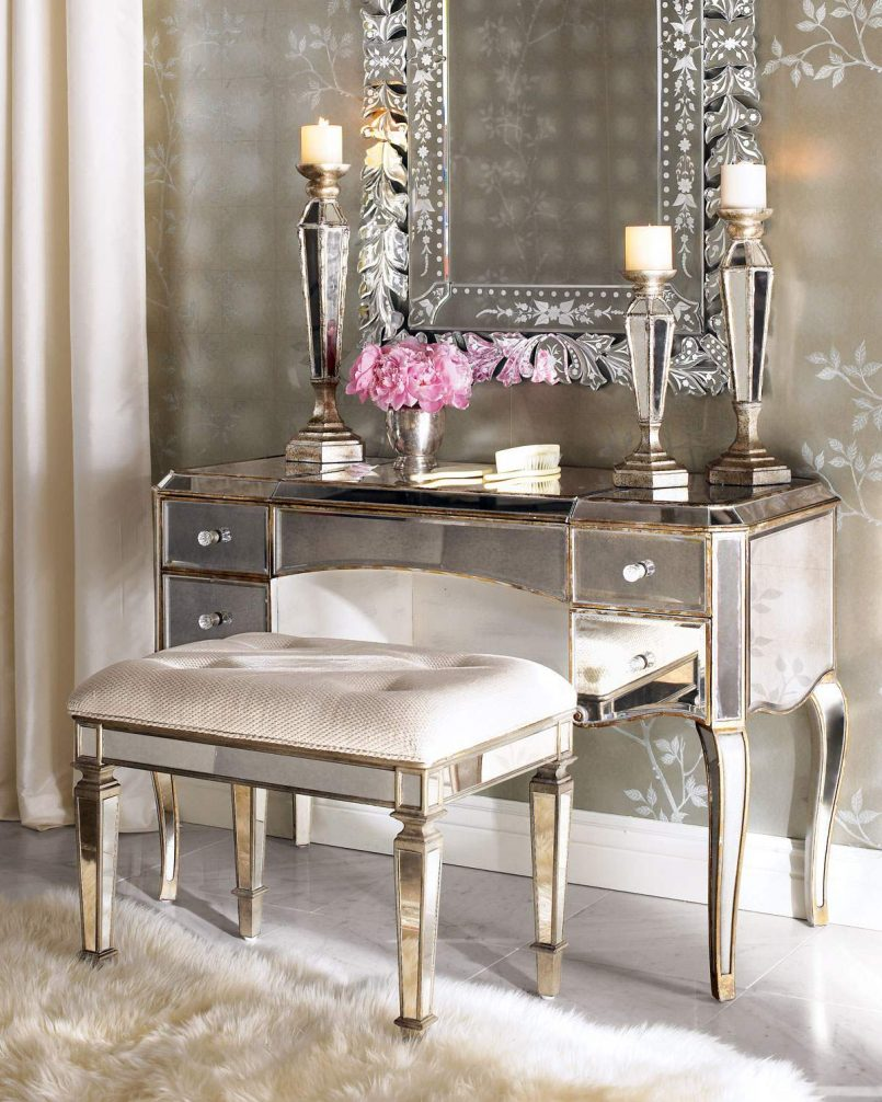 Mirrored Makeup Vanity | Silver Makeup Vanity | Mirrored Vanity Set