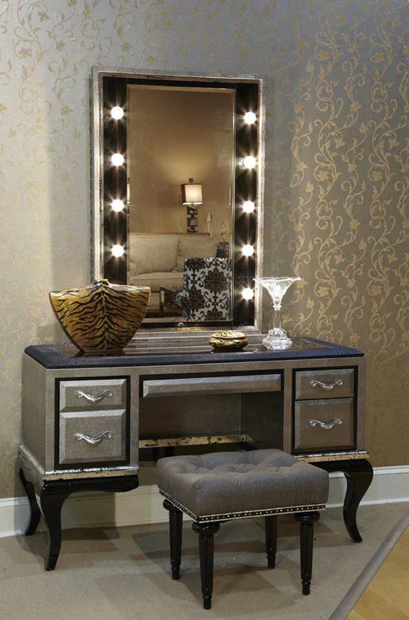 Mirrored Vanity Set | Mirror Brush and Comb Vanity Set | Cheap Mirrored Vanity