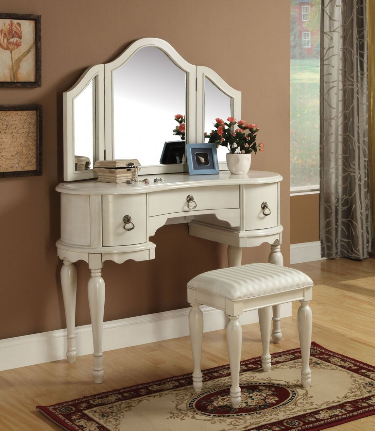Mirrored Vanity Set | Mirrored Makeup Table | Vanity Mirror Dresser Set