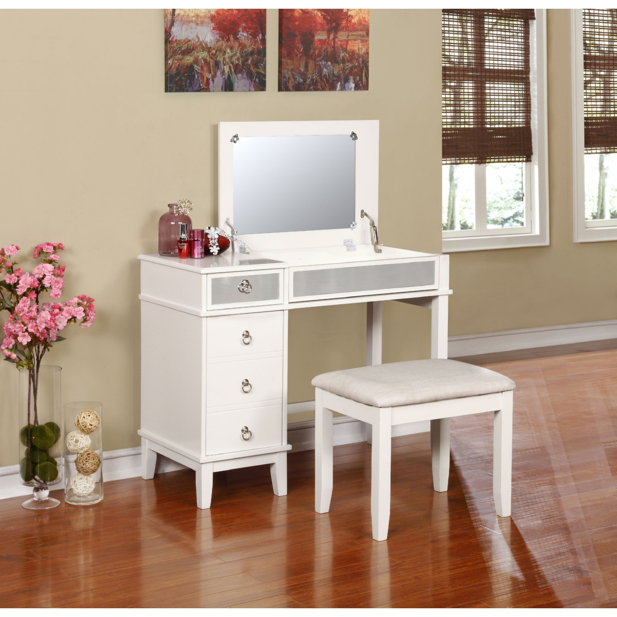 Mirrored Vanity Set | Vanity Makeup Desk | Bathroom Vanity Sets with Mirror