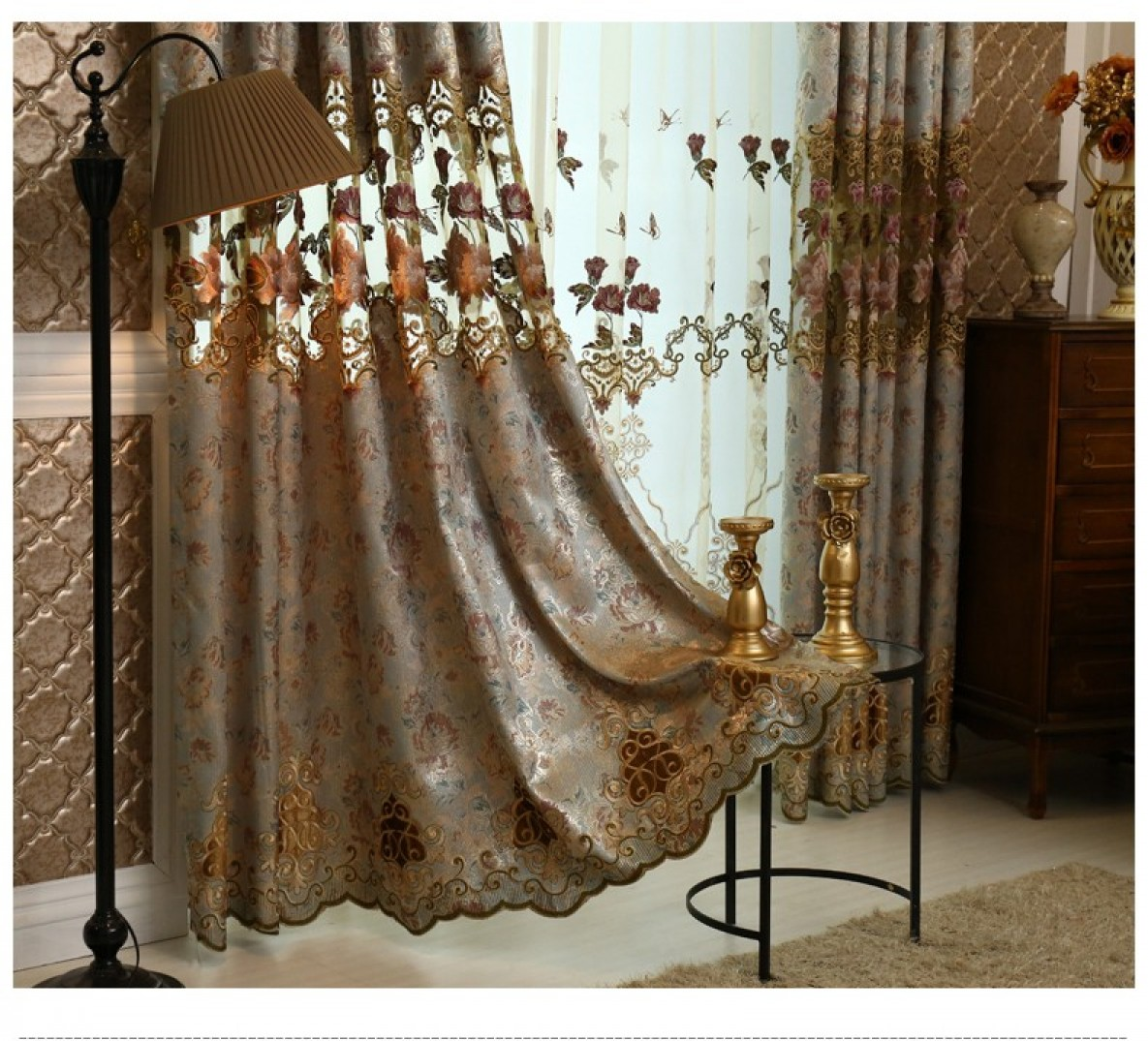 Luxury Interior Home Decorating Ideas with Embroidered Curtains: Mustard Curtain Panels | Embroidered Curtains | Flowered Curtains