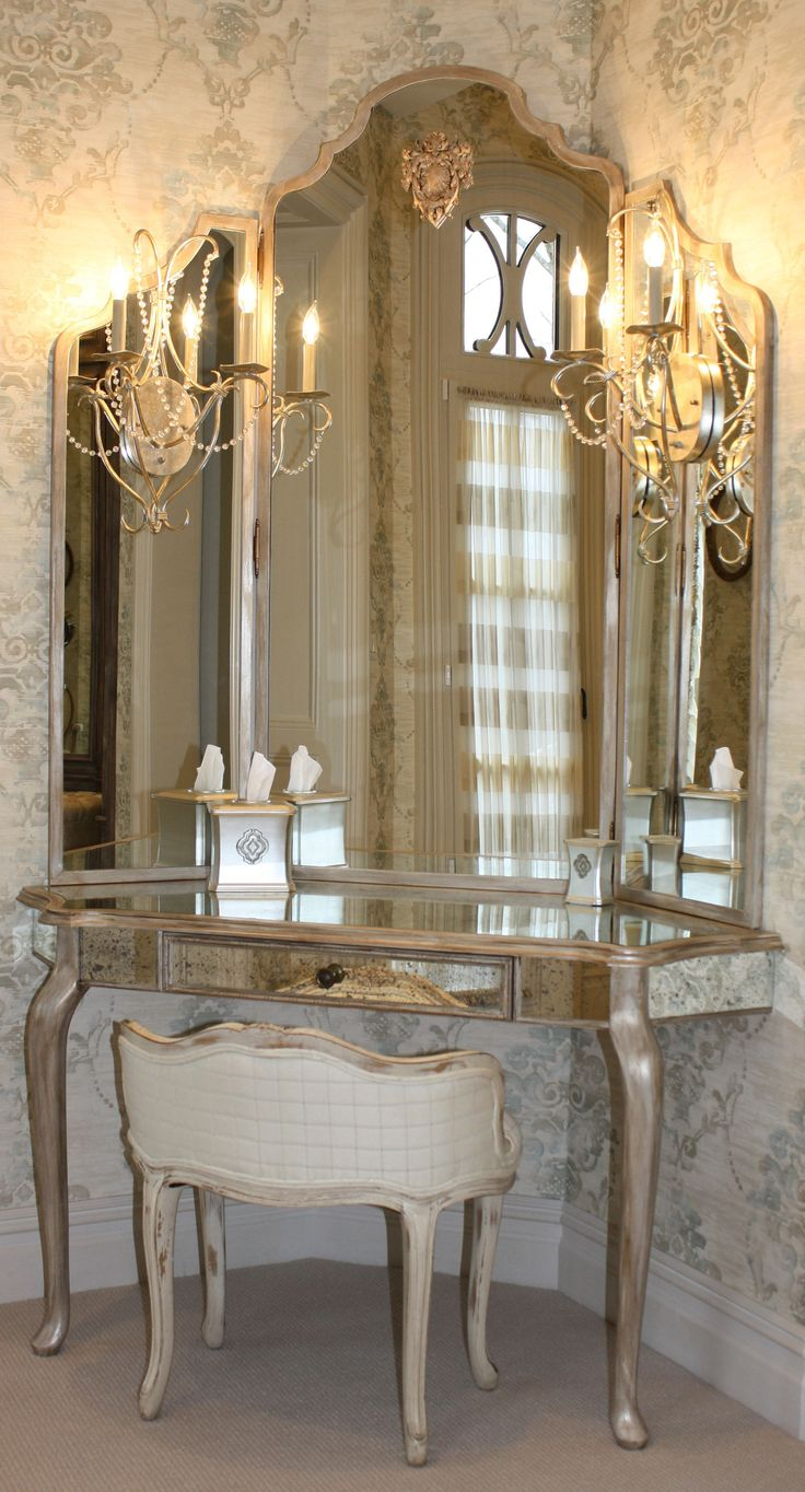 Off White Vanity Table | Mirrored Vanity Set | Antique Mirror and Brush Vanity Set