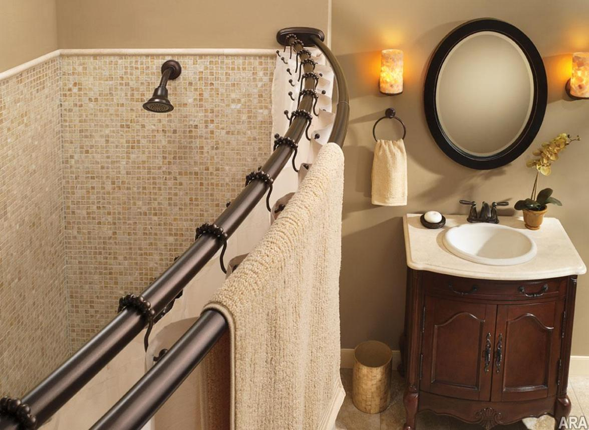 Oil Rubbed Bronze Curved Shower Curtain Rod | Curved Curtain Rods | Curved Shower Curtain Rod Cover