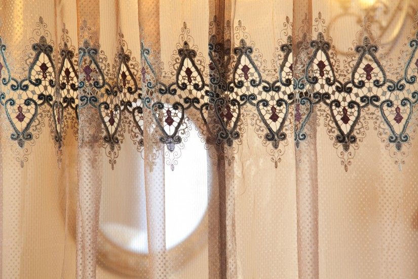 Raspberry Drapes | Embroidered Curtains | Crewel Fabric Sale