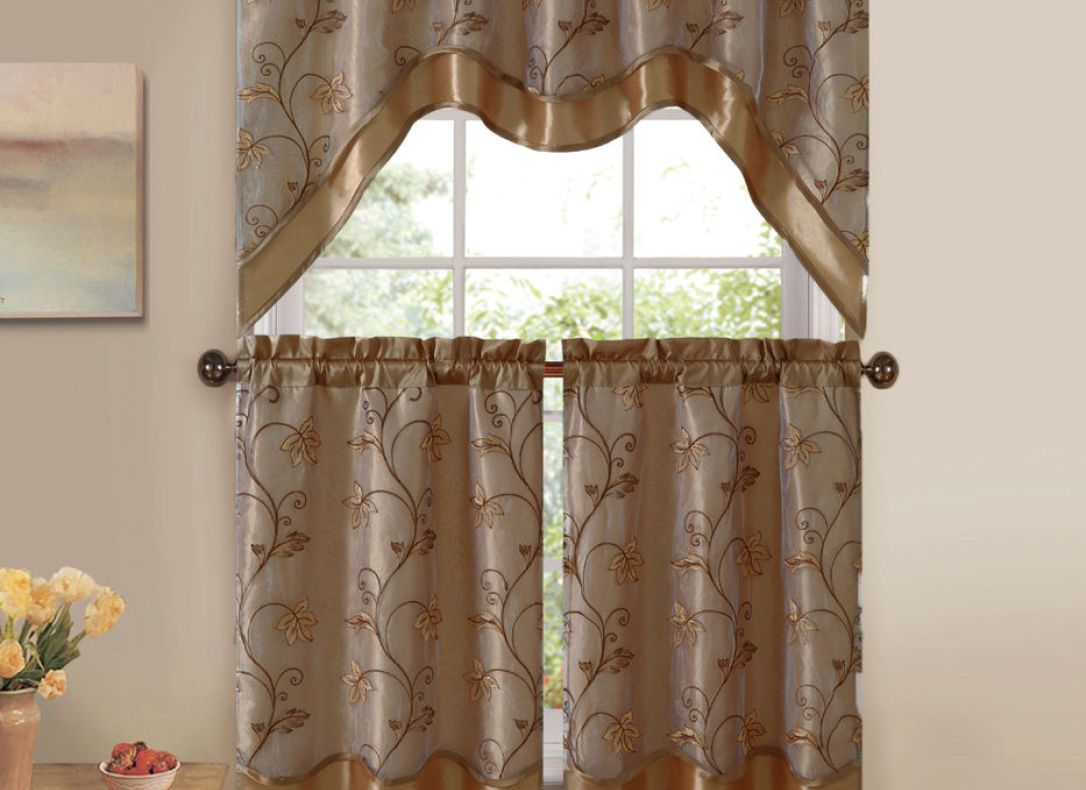 Sheer Curtains with Embroidered Flowers | Embroidered Window Sheers | Embroidered Curtains