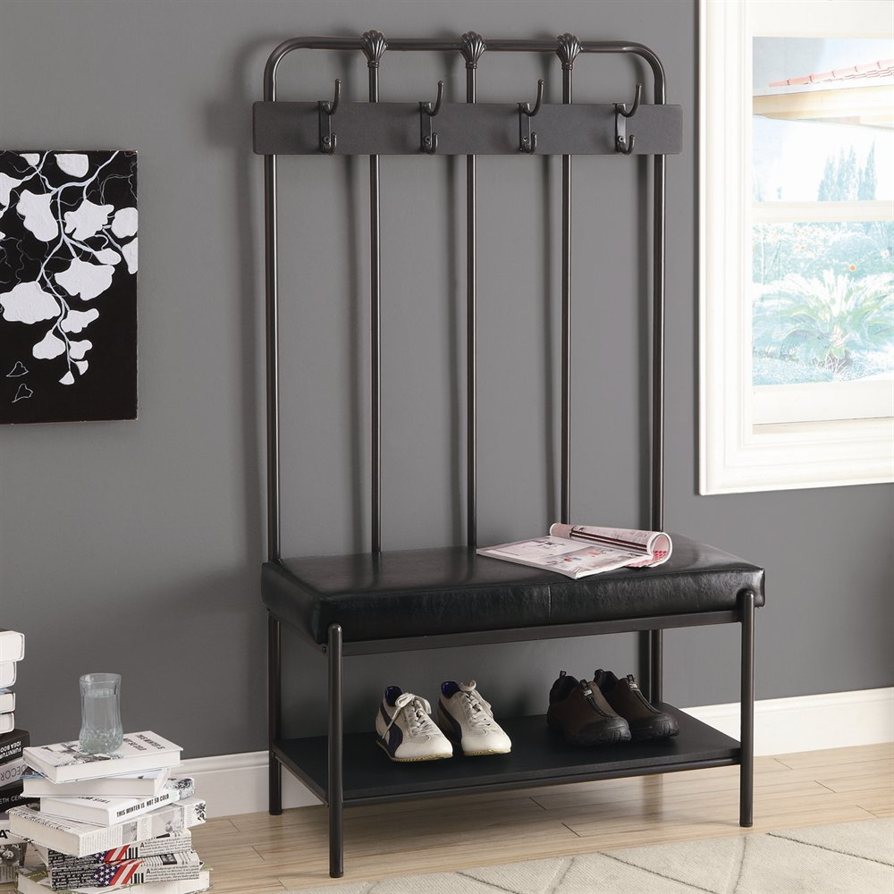 Shoe Bench and Coat Rack | Entryway Storage Bench with Coat Rack | Foyer Benches with Coat Racks