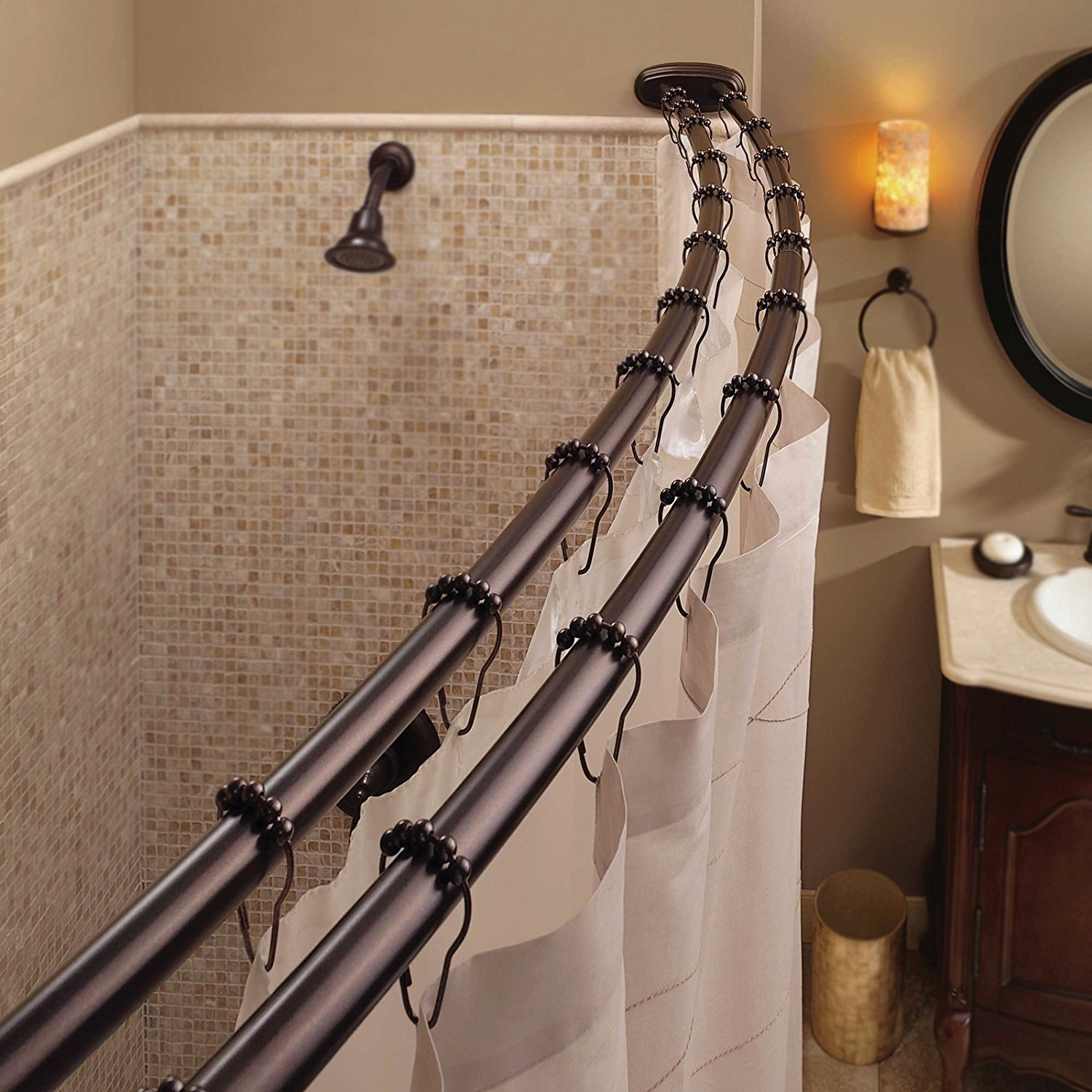 Exciting Bathroom Decor Ideas with Shower Curtain Tension Rod: Shower Stall Curtain Rods | Shower Curtain Pole Holder | Shower Curtain Tension Rod