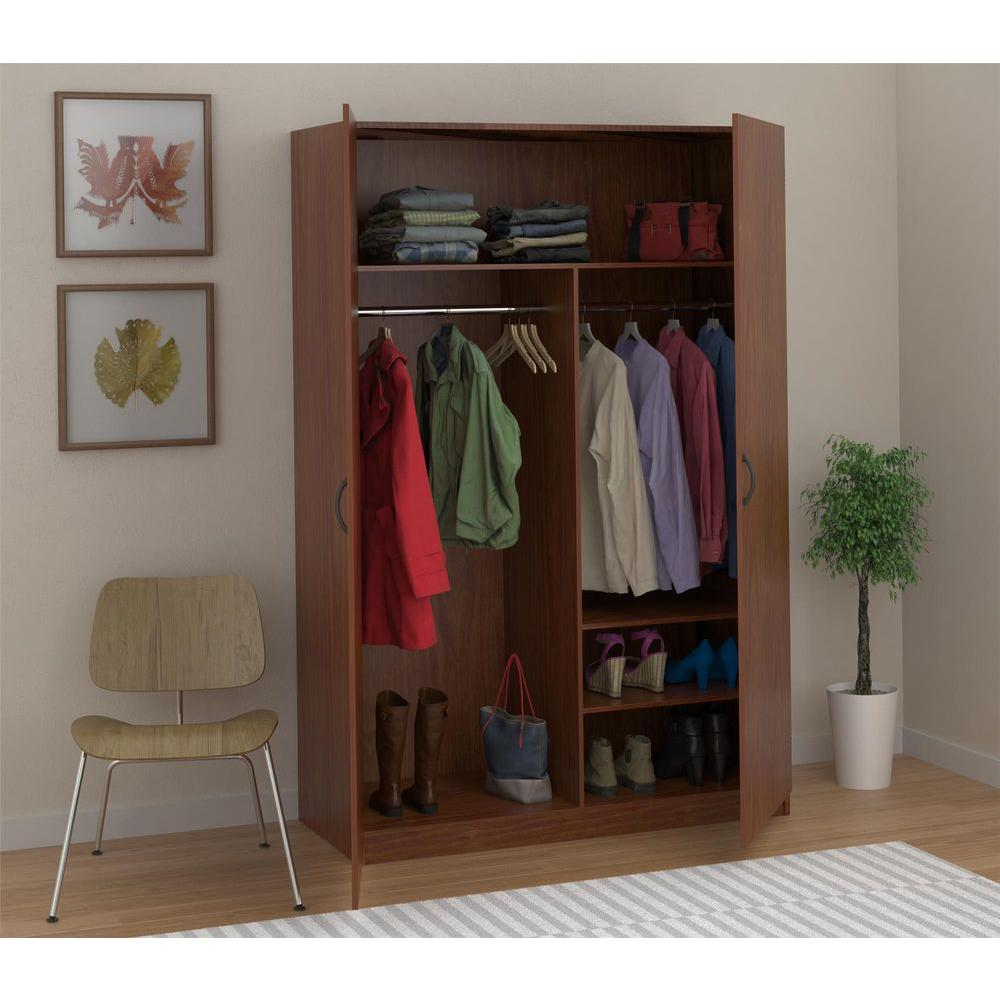 Single Armoire Wardrobe | Clothing Armoire with Drawers | Free Standing Closet Wardrobe