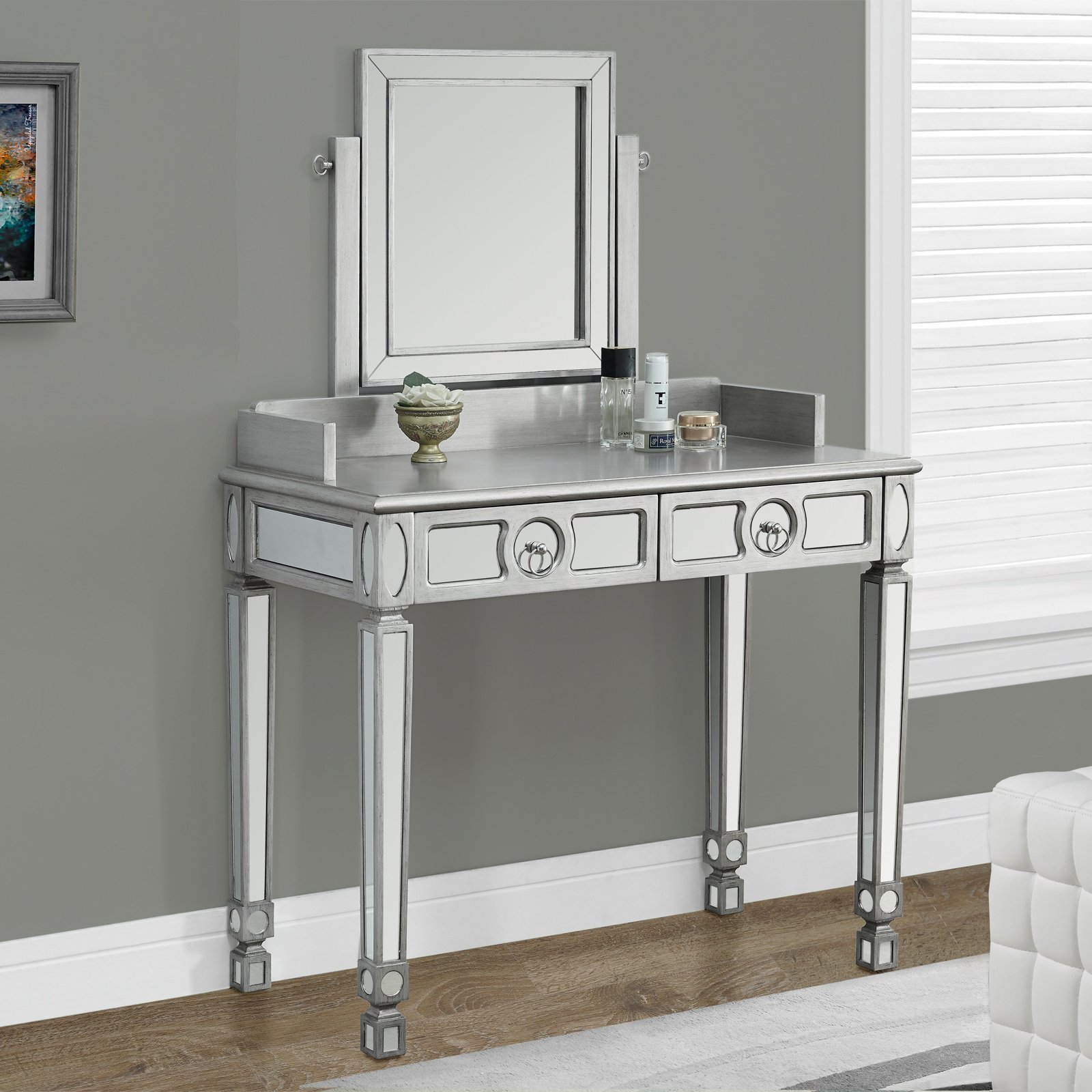 Small Vanity Desk | Mirrored Vanity Set | Vanity Brush and Mirror Set