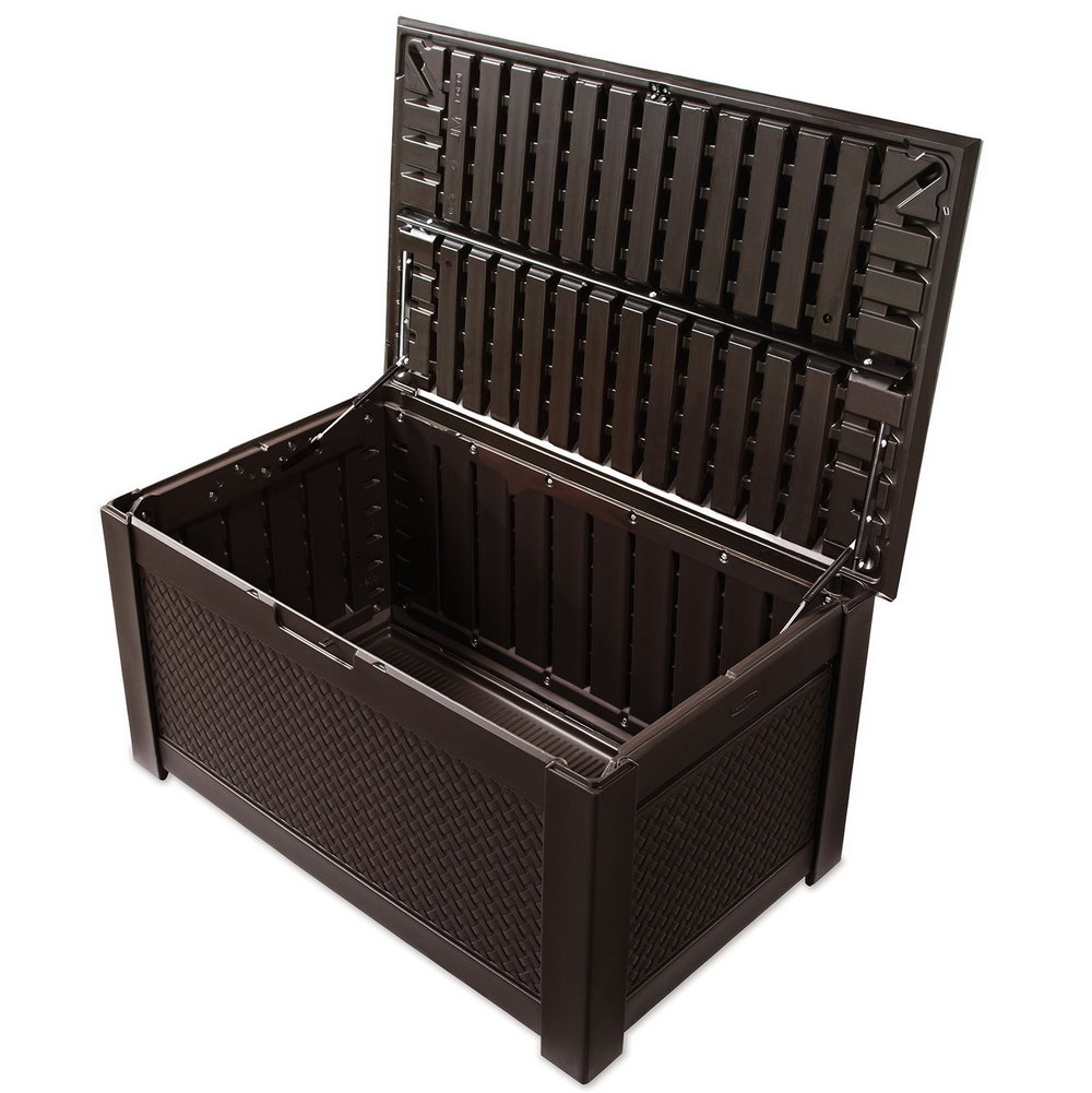 Suncast Wicker Deck Box | Extra Large Deck Box 200 Gallon | Rubbermaid Storage Bench