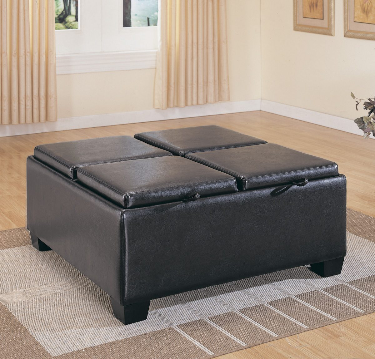 Tufted Round Ottoman Coffee Table | Large Round Leather Ottoman Coffee Table | Extra Large Ottoman