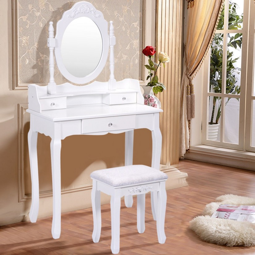 Vanity Mirror And Chair Set | Vanity Sets With Mirror And Bench | Mirrored Vanity Set