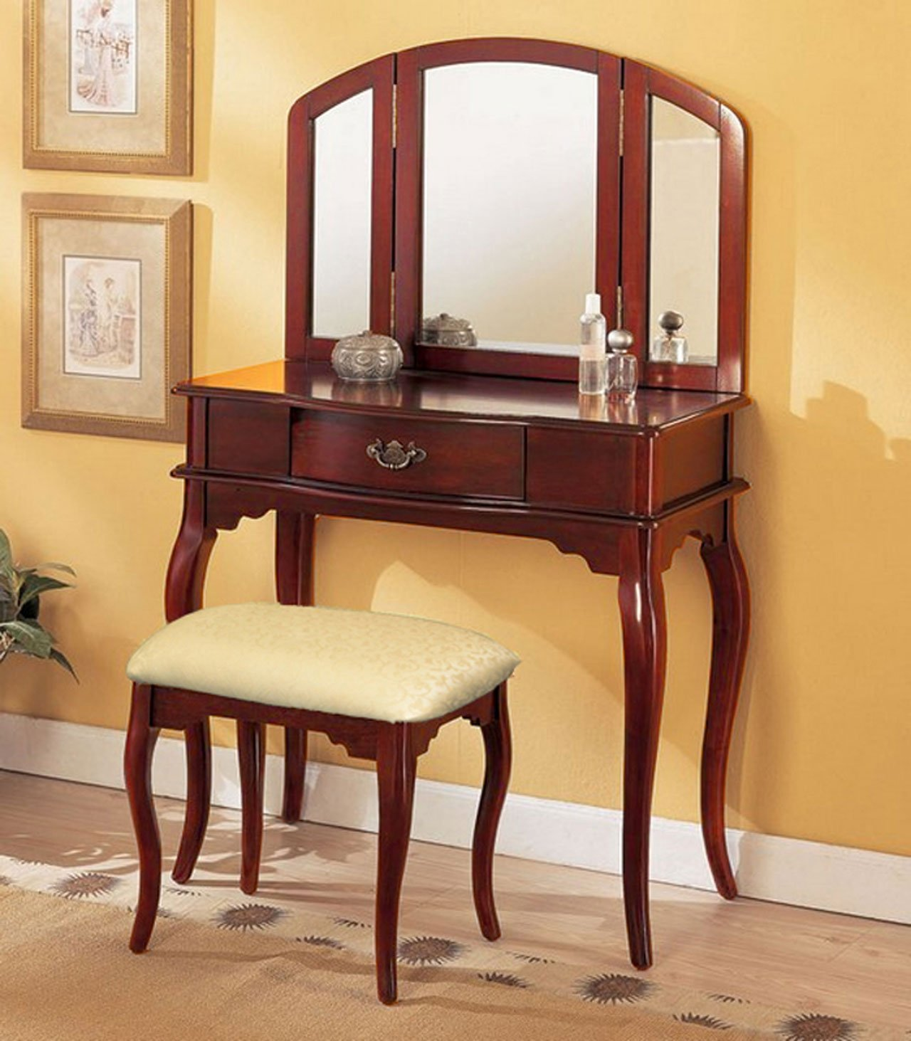 Vanity Mirror with Chair | Mirrored Vanity Set | Bedroom Vanity Table with Drawers