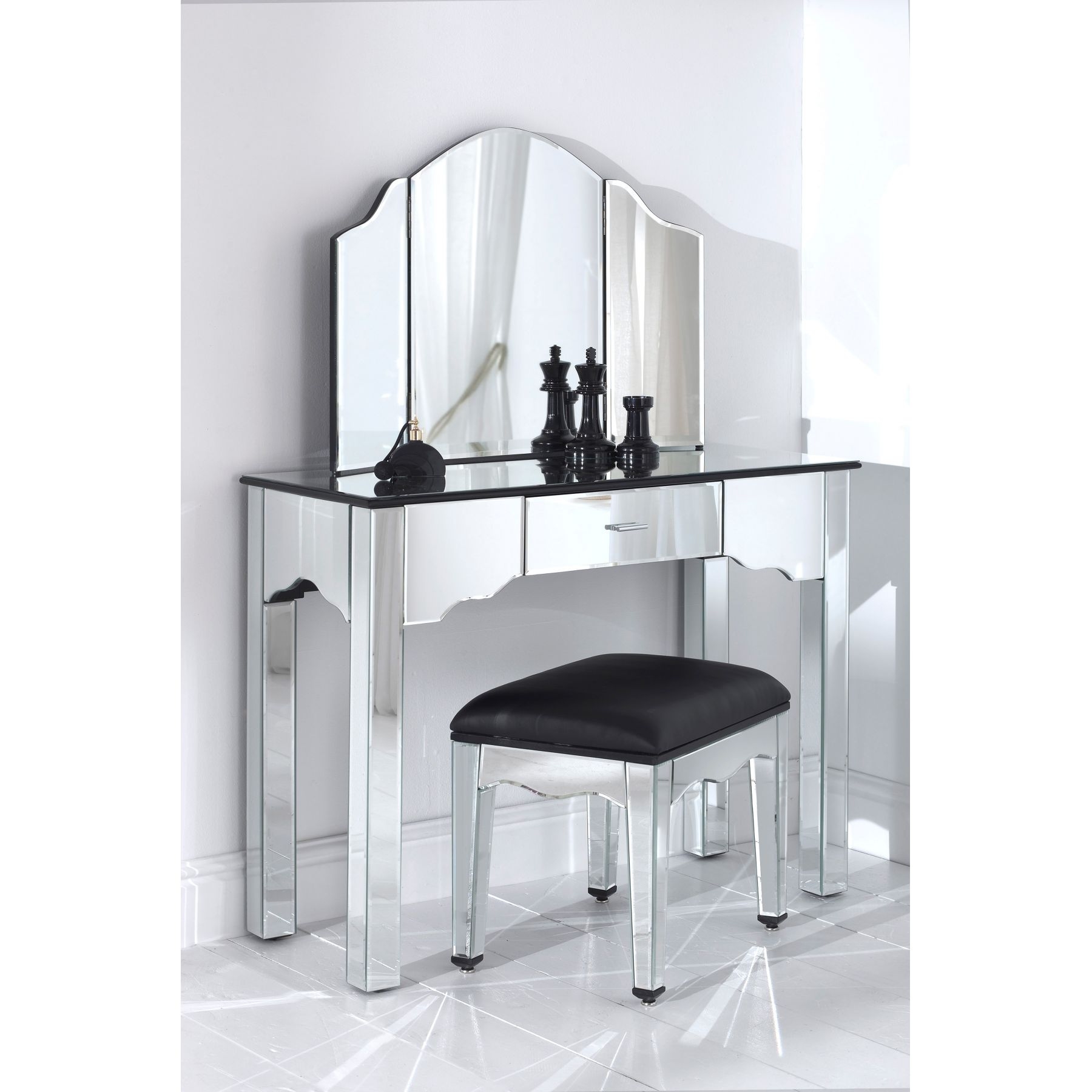 Mirrored Vanity Set for Elegant Bedroom Furniture Design: Vanity Set Makeup | Mirrored Vanity Set | Vanity Mirror Dresser Set