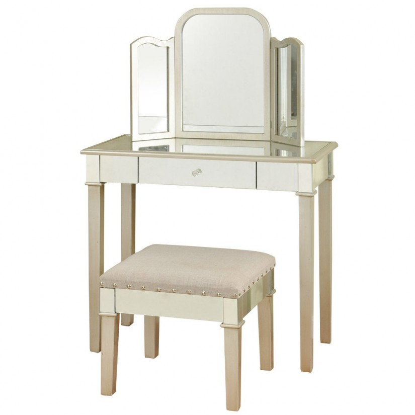 Vanity Set With Lights For Bedroom | Mirror Brush And Comb Vanity Set | Mirrored Vanity Set