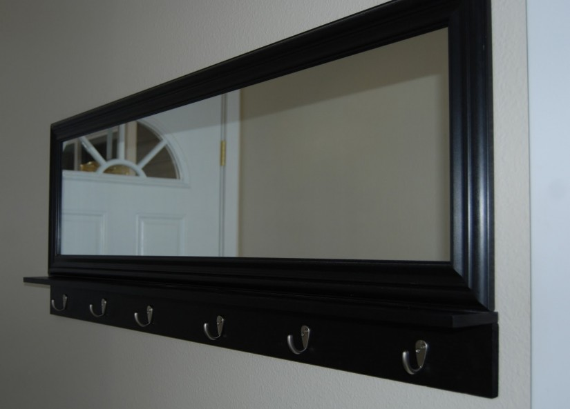 Wall Mirror With Coat Hooks | Entryway Mirror | Round Table Entryway