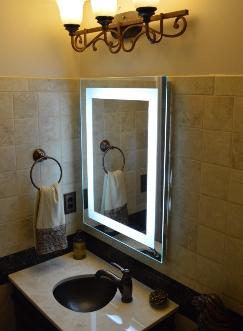 Wall Mount Lighted Makeup Mirror | Lighted Bathroom Mirror Wall Mount | Lighted Wall Mirror