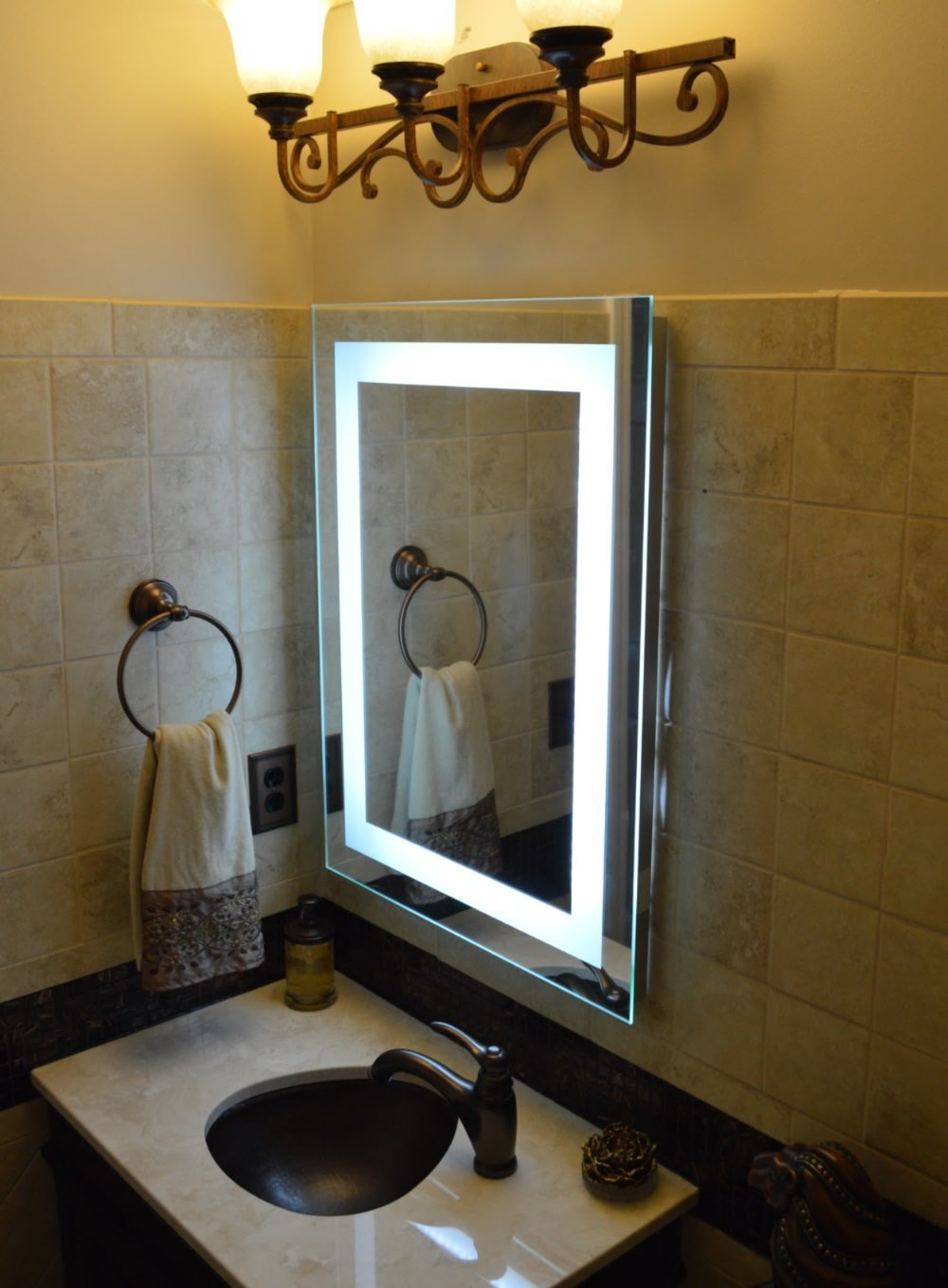 Mirrors lighted wall mirror for elegant vanity design ideas wall mount lighted makeup mirror lighted bathroom mirror wall mount lighted wall mirror mozeypictures Image collections
