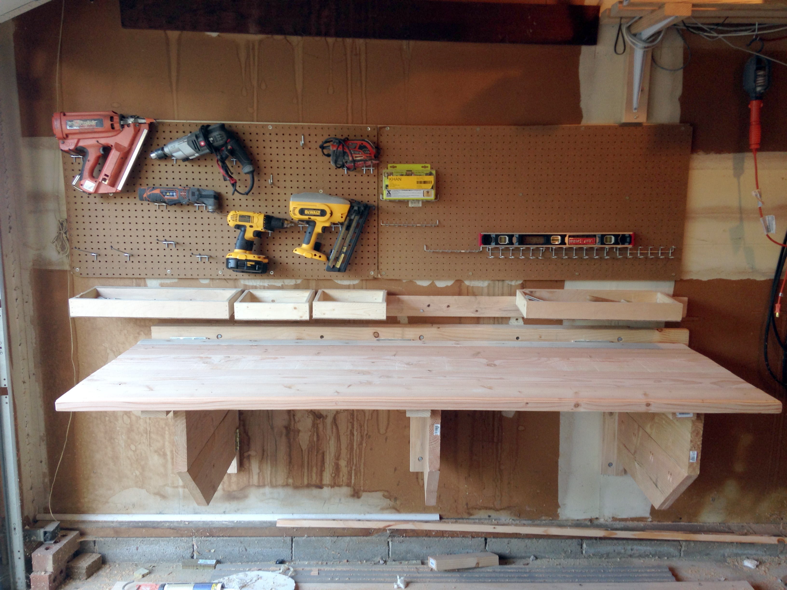 Wall Mounted Folding Workbench | Fold Down Workbench for Garage | Fold Down Workbench